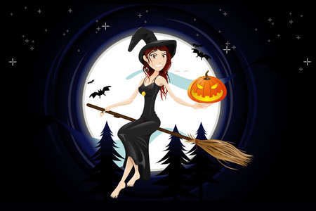 Hallowen Night Witch Stock Vector - 14434433