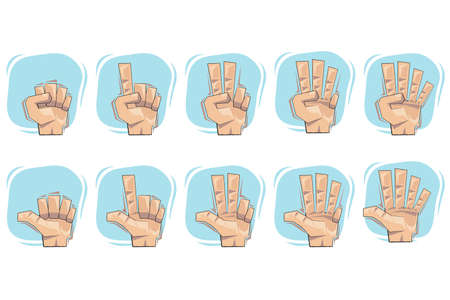 Doodle Number Hand Sign Icons Vector