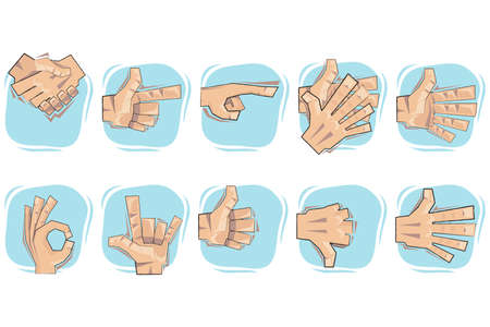 Doodled Hand Sign Icon set. Vector