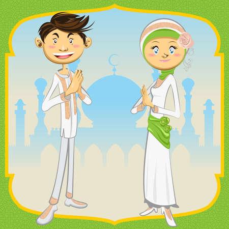 indonesia culture: Ramadan Mubarak Illustration