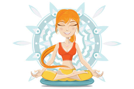 mind body soul: Illustration of Young Woman meditating  Preserve Mind, Body   Soul  Illustration