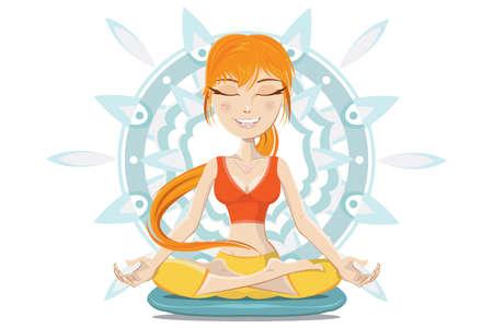 mind body soul: Illustrazione di giovane donna meditando Preserve Mente, Anima Corpo Vettoriali