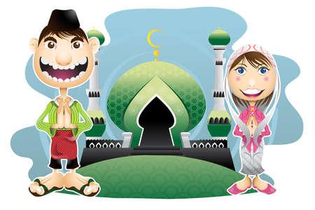 이슬람교 이슬람 Eid 무바라크 축하 일