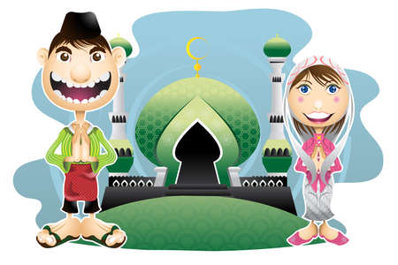 Moslem islam eid mubarak celebration day  Vector