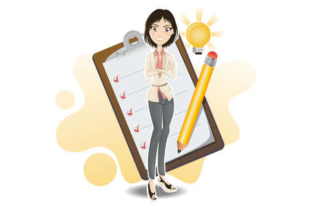 Illustration Of A Businesswoman Making A Business Checklist From Her Brilliant Idea With Notepad And Pencil