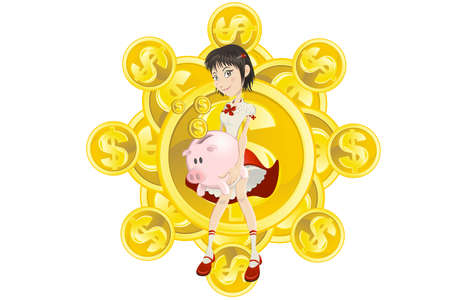 girl saving her gold dollar coin money to pink piggy bank Stock Illustratie