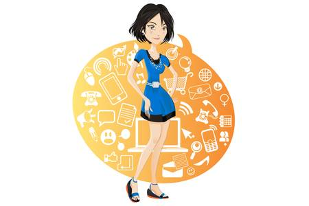 Illustration of a social networking girl wearing blue dress browsing sites online with information technology Vector