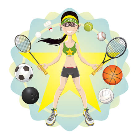 badminton racket: Illustration of young woman athlete exercising basketball, soccer, bowling, volleyball, badminton, tennis, baseball sport game