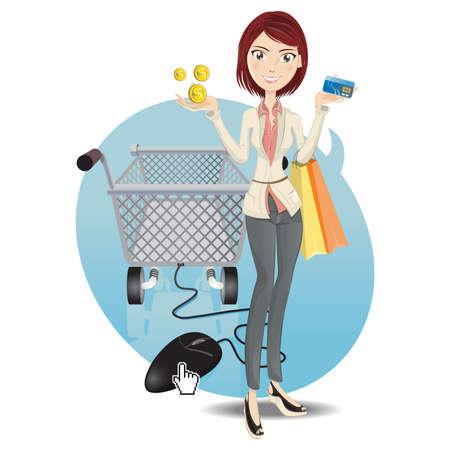 온라인 쇼핑 소녀 일러스트