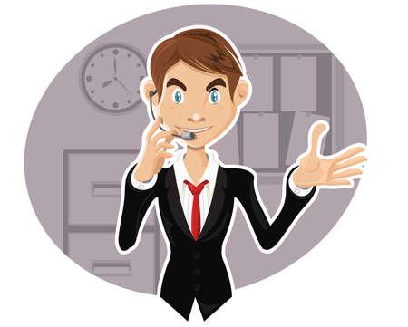 hablando: Confiado representante de servicio al cliente explicando el procedimiento