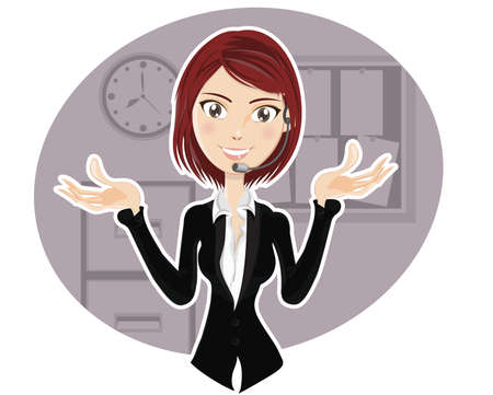 Confident Customer Service Representative explaining procedure Stock Vector - 14609686