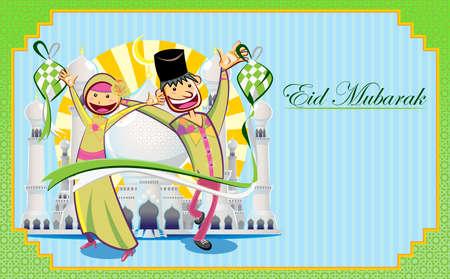 Eid 무바라크 인사 카드 일러스트