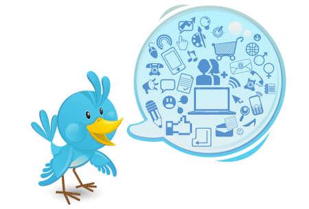 social networking: Social Media Networking Bluebird Con un fumetto