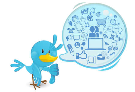 Social Networking Media Bluebird With A Speech Bubble Thums Down Illustration