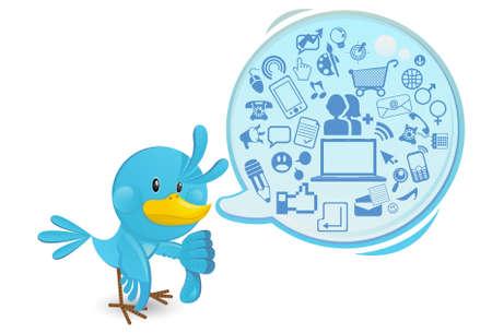 weblogs: Social Networking Media Bluebird With A Speech Bubble Thums Down Illustration