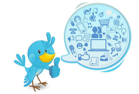 social issues: Social Media Networking Bluebird Con un fumetto Thumbs Up