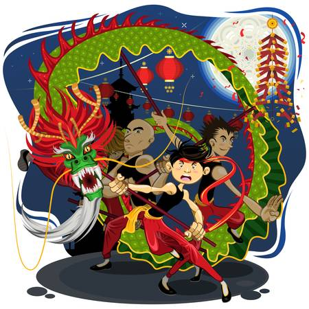 Chinese New Year Dragon Dance Stock Vector - 14853560
