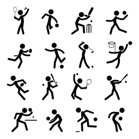 cricket: Sport Pictogram Icon Set Illustration
