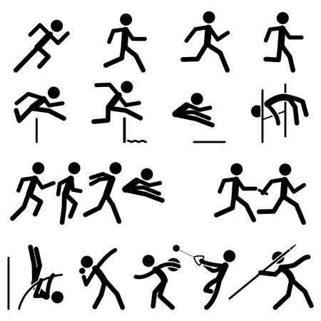 atletisch: Sport Pictogram Icon Set 02 Track & Field Stock Illustratie