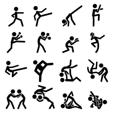 aikido: Sport Pictogram Icon Set 03 Martial Arts