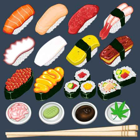 Japanese Sushi Collection Set Stock Vector - 16213419
