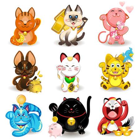 money cat: Maneki Neko Cat Fortune Collection Vectores