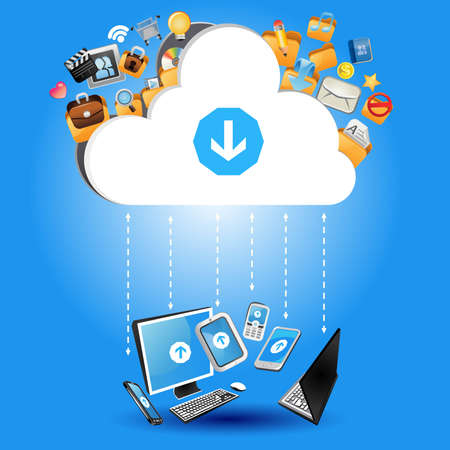 backups: Cloud Computing Concept Illustration