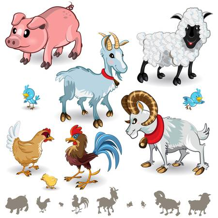 cartoon sheep: Farm Animals Collection Set 01 Illustration