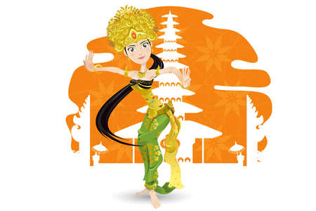 people travelling: Balinese Dancer Illustration
