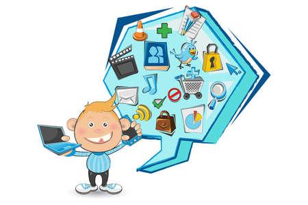 clap board: Boy Doodled Social Media Vectores