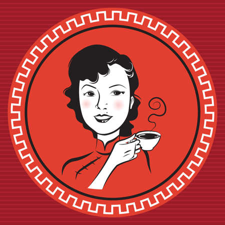 chinese tea cup: Persona Retro chino Vectores