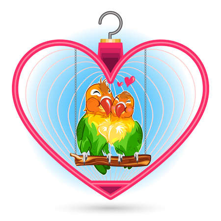 parakeet: Valentine Love Bird Couple, Hugs And Kiss Each Other Inside A Pink Heart Bird Cage