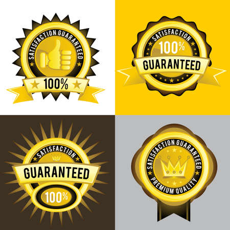 Satisfaction Guaranteed and Premium Quality golden labels, signs, emblem, and insignia. Vector