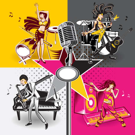 Music Star Idols Singing And Performance Rock, Jazz, Hip Hop And Folk Music Vector