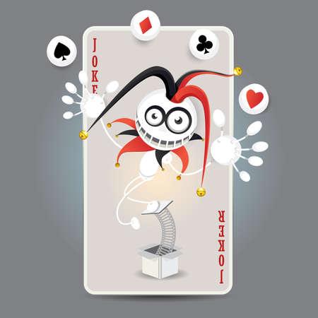 ジョーカー ハーレクイン作る鋤、クラブ、ダイヤモンド、心のボールの大きなカードの前でパフォーマンスをジャグリング 写真素材 - 18996611