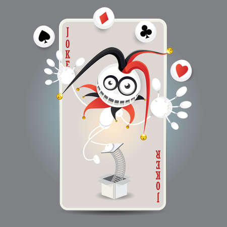 Joker Harlequin Make Juggling Performance With Spade, Club, Diamond, Heart Balls In Front Of Big Card Stock Vector - 18996611