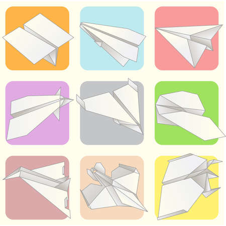 Paper Plane Model Collection Set Stock Vector - 18873048