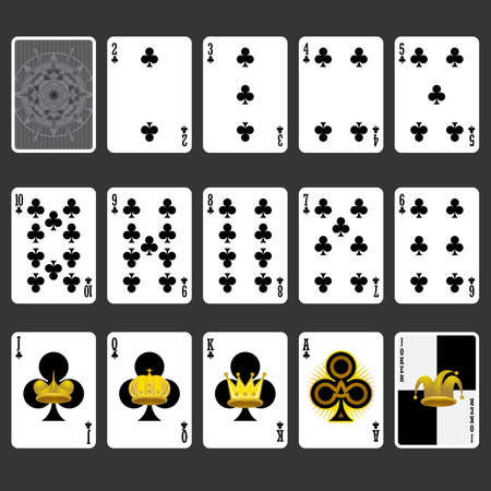 ace of clubs: Club Suit Playing Cards Full Set
