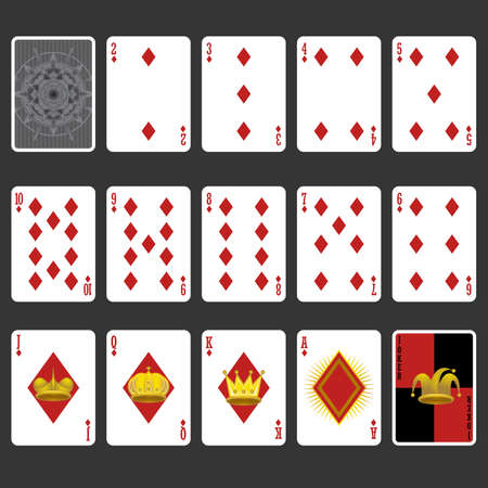deck of cards: Diamond Suit Playing Cards Full Set Illustration