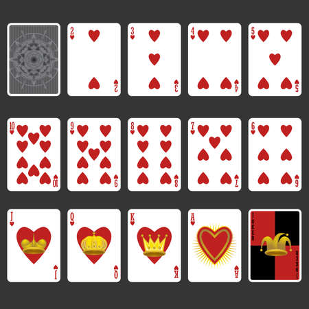 king and queen of hearts: Heart Suit Playing Cards Full Set Illustration