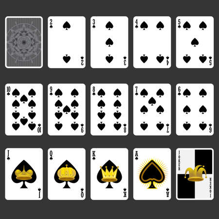 Spade Suit Playing Cards Full Set Иллюстрация