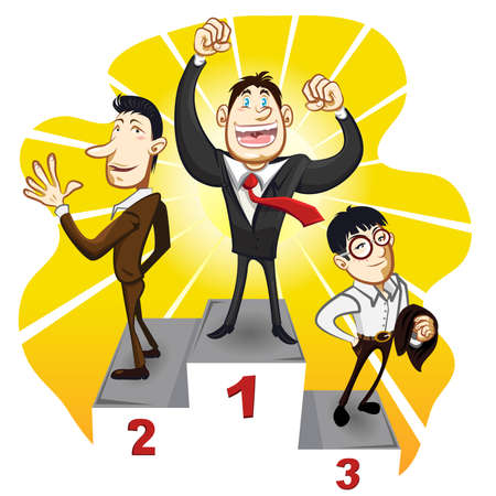 A Business Podium With The Winner Businessman Champion Stand In The First, Second And Third Place