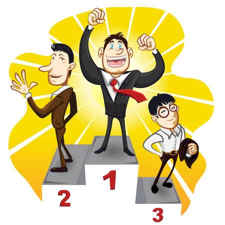 conquering adversity: Un Podium de negocios con el ganador del hombre de negocios campe�n del soporte en el primero, segundo y tercer lugar