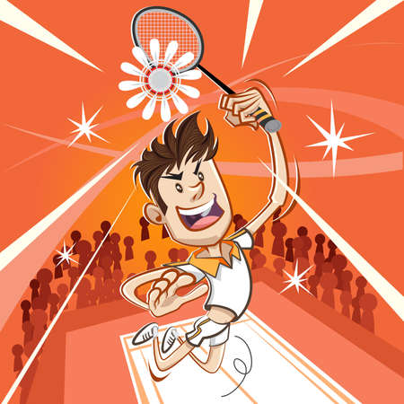 Male Badminton Player Performing A Vertical Jumping Smash Vector