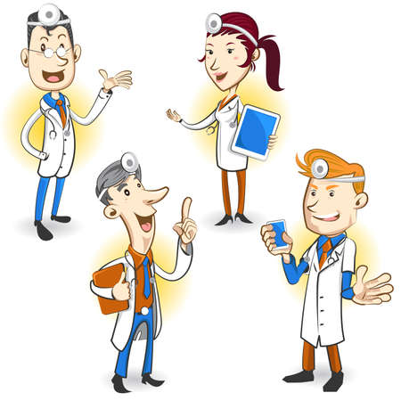 Men And Women Doctor Character Holding Smartphone, Digital Tablet And Ring Binder, Explaining Medical Procedure Vector
