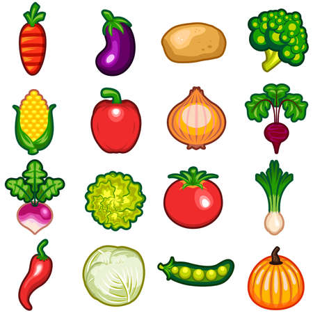 antioxidant: Vegetables Icon Set