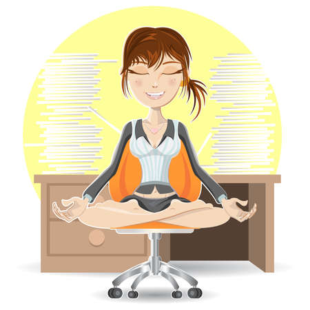 Woman Meditation At The Office Calming Down In Busy Environment Иллюстрация