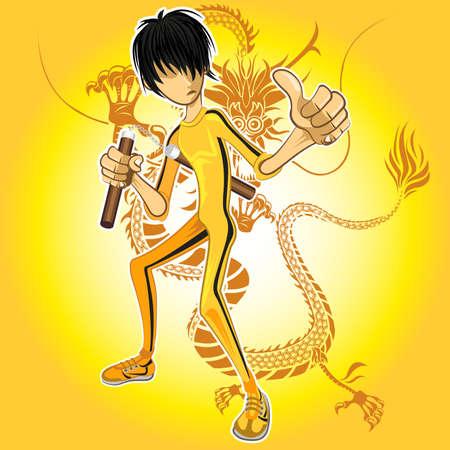 arte marcial: Kungfu Maestro vistiendo de amarillo mono Nunchucks Jugar Con Dragon Tatoo Vectores