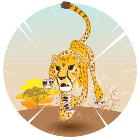 Cheetah króla prędkości w pogoni za zdobyczą Na Savannah Ilustracje wektorowe
