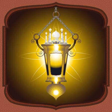 Moslem Islam Eid Mubarak Lantern Vector